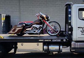 Motorcycle on Flat Bed for Transport