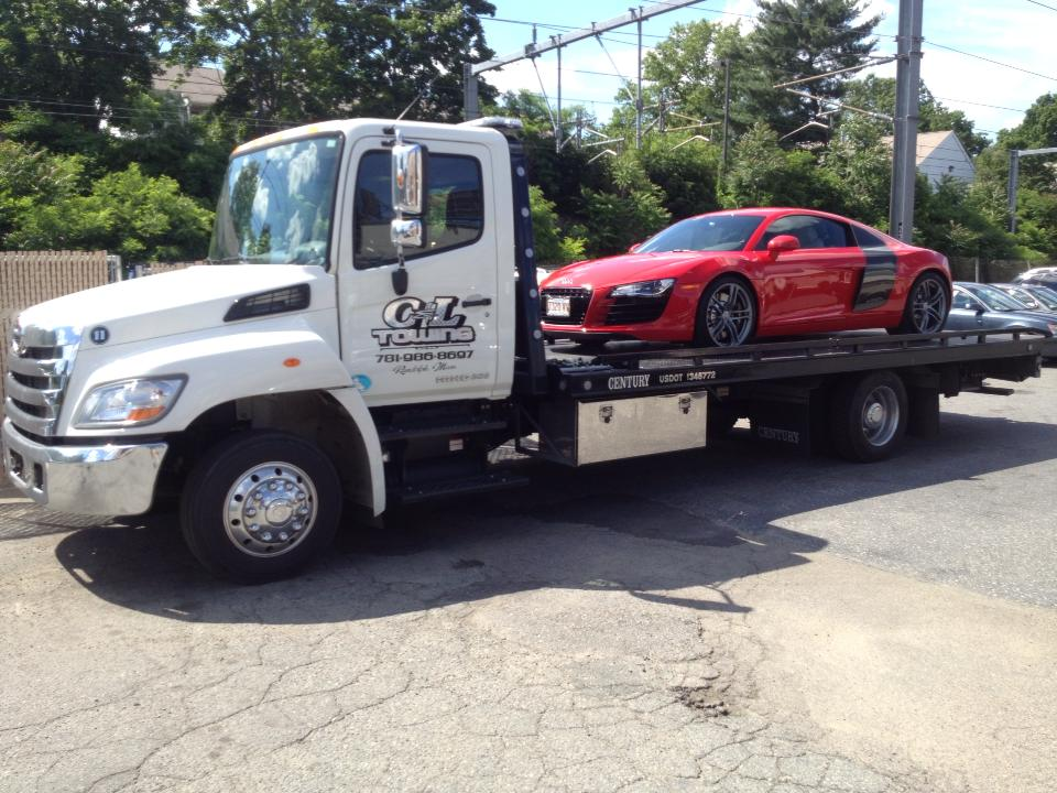 Red Exotic Car on Flat Bed