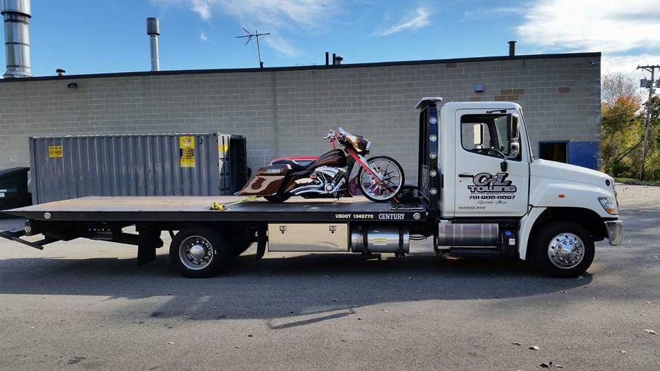 Hot Rod Motorcycle on Flat Bed