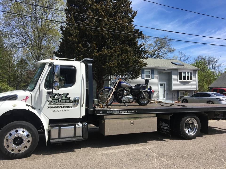 Motorcycle on Flat Bed